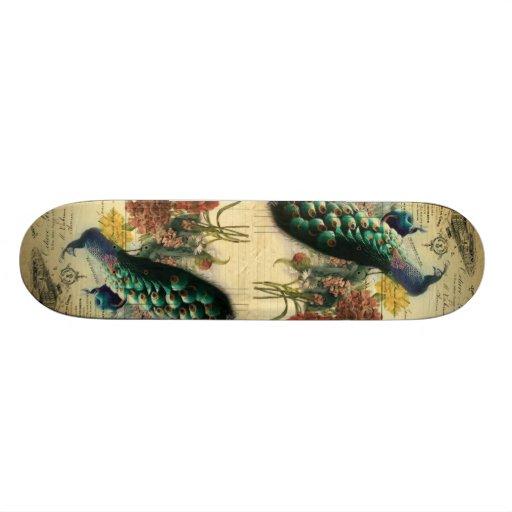 paris fashion girly flower vintage peacock skateboards