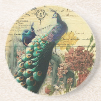 paris fashion girly vintage peacock floral drink coasters