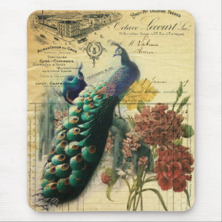 paris fashion girly vintage peacock floral mouse pad