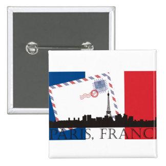 Paris Flag and Skyline 15 Cm Square Badge