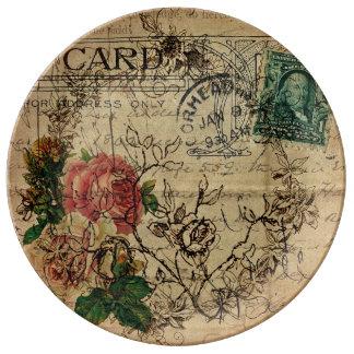 Paris Flower Postage Designer Plate Porcelain Plates