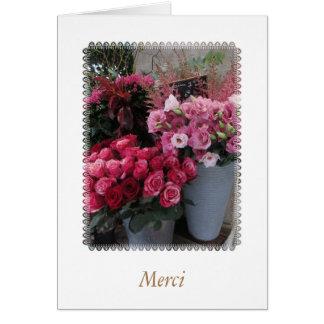 "Paris Flowers Thank You ""Merci"" card"