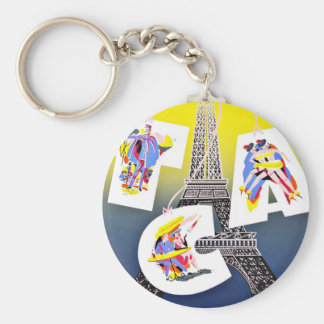 Paris Fly with Canada Airlines Basic Round Button Key Ring