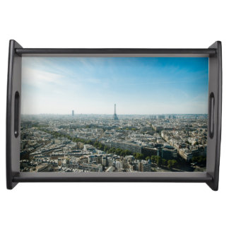 Paris France and Eiffel Tower by day time Serving Tray