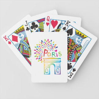 Paris France | Arc de Triomphe | Neon Design Bicycle Playing Cards