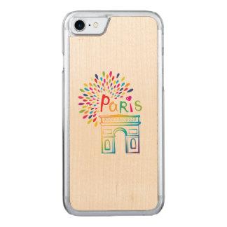 Paris France | Arc de Triomphe | Neon Design Carved iPhone 8/7 Case