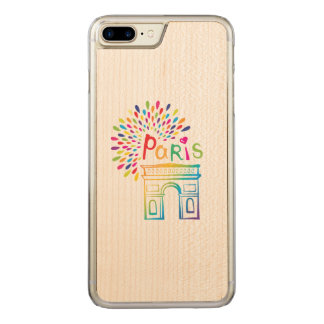 Paris France | Arc de Triomphe | Neon Design Carved iPhone 8 Plus/7 Plus Case