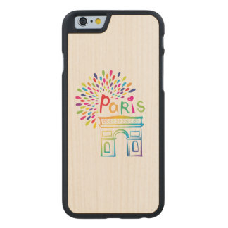 Paris France | Arc de Triomphe | Neon Design Carved Maple iPhone 6 Case