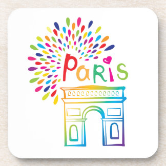 Paris France | Arc de Triomphe | Neon Design Coaster