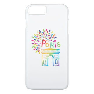 Paris France | Arc de Triomphe | Neon Design iPhone 8 Plus/7 Plus Case