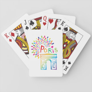 Paris France | Arc de Triomphe | Neon Design Playing Cards