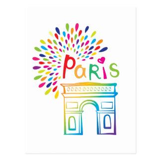 Paris France   Arc de Triomphe   Neon Design Postcard