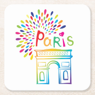 Paris France | Arc de Triomphe | Neon Design Square Paper Coaster