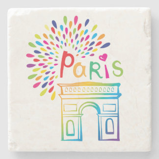 Paris France | Arc de Triomphe | Neon Design Stone Coaster