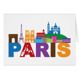 Paris, France | Colorful Typography Card