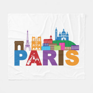 Paris, France   Colorful Typography Fleece Blanket
