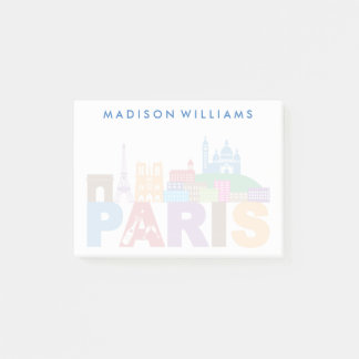 Paris, France | Colorful Typography Post-it Notes