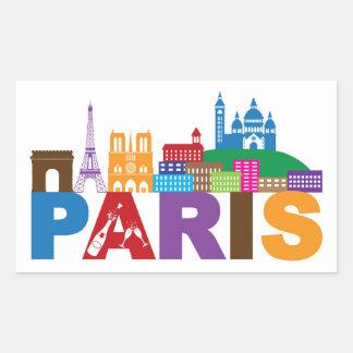 Paris, France | Colorful Typography Rectangular Sticker