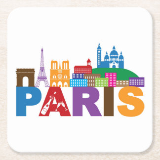 Paris, France | Colorful Typography Square Paper Coaster