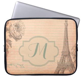 """Paris France Eiffel Tower Monogram 15"""" Laptop Case"""