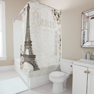 Paris France Eiffel Tower Pink Roses Glamour Shower Curtain
