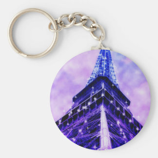 Paris France Eiffel Tower purple Keychains