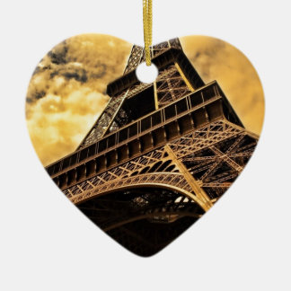 Paris France Eiffel Tower Sunset Christmas Tree Ornaments