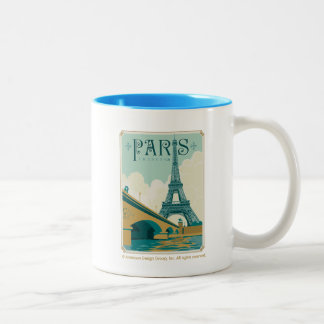 Paris France - Eiffel Tower Two-Tone Coffee Mug