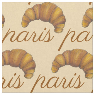 Paris France French Croissant Pastry Bakery Food Fabric