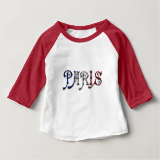 Paris France French Flag Colors Typography Baby T-Shirt