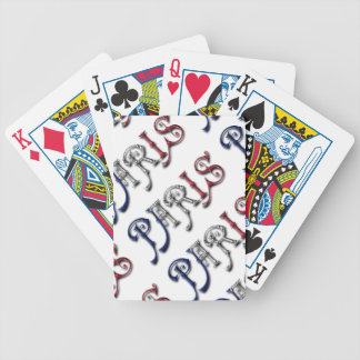 Paris France French Flag Colors Typography Bicycle Playing Cards