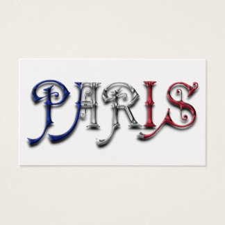 Paris France French Flag Colors Typography Business Card