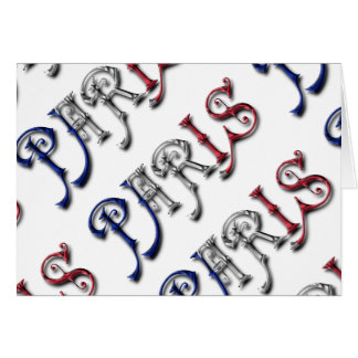 Paris France French Flag Colors Typography Card