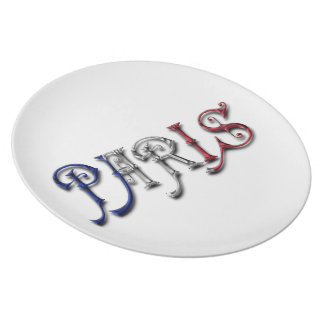 Paris France French Flag Colors Typography Plate