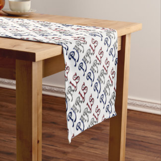 Paris France French Flag Colors Typography Short Table Runner