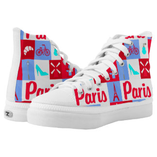 Paris france french life red white blue flag shoes printed shoes