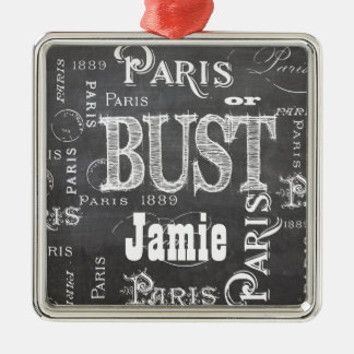 Paris France Gifts and Souvenirs Silver-Colored Square Decoration