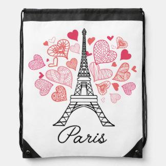 Paris, France Love Drawstring Bag