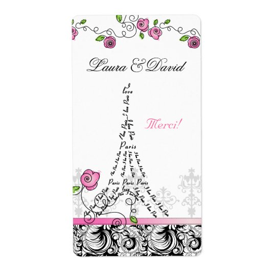 Paris France Merci Label Eiffel Tower Pink Roses