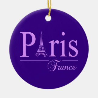 Paris France ornament, customize Round Ceramic Decoration