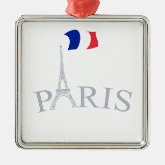 Paris, France Silver-Colored Square Decoration