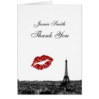 Paris France Skyline Kiss #1 BW Thank You Card