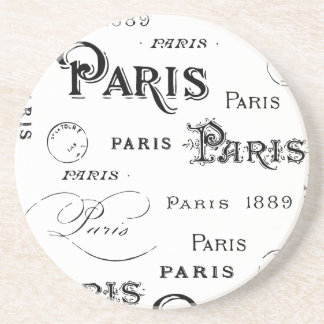Paris France Typography Souvenirs Coaster
