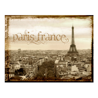 paris france vintage look postcard