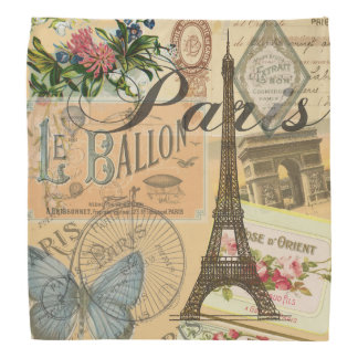 Paris France Vintage Travel Collage Bandana