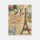 Paris France Vintage Travel Collage Fleece Blanket