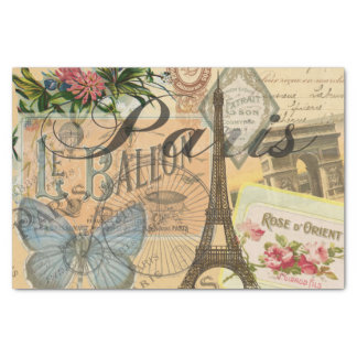 Paris France Vintage Travel Collage Tissue Paper