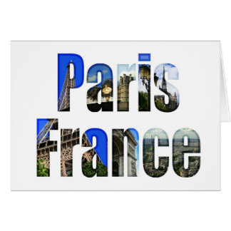 Paris France with tourist attractions Card