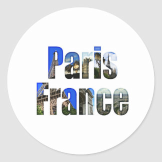 Paris France with tourist attractions Round Stickers