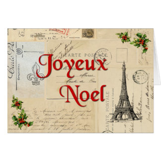 Paris French Postcards Christmas Card